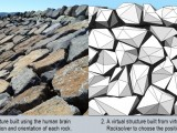 The old method is to use the human brain to perform the complex 2D and 3D optimisation of irregular-shaped objects. The breakwater was built by Australian Project Solutions. Rocksolver uses software to solve the jigsaw puzzle.